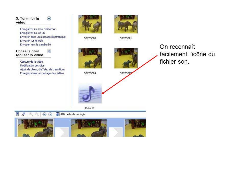 On reconnaît facilement l'icône du fichier son.