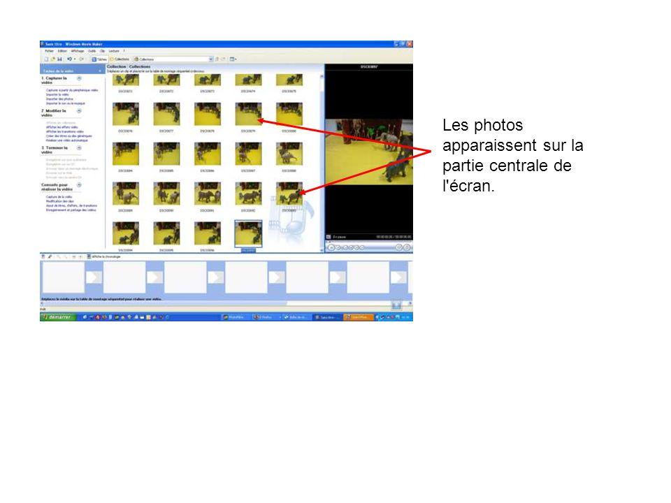Les photos apparaissent sur la partie centrale de l'écran.