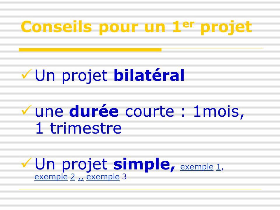 Conseils pour un 1 er projet Un projet bilatéral une durée courte : 1mois, 1 trimestre Un projet simple, exemple 1, exemple 2,, exemple 3 exemple1 exemple2,,exemple