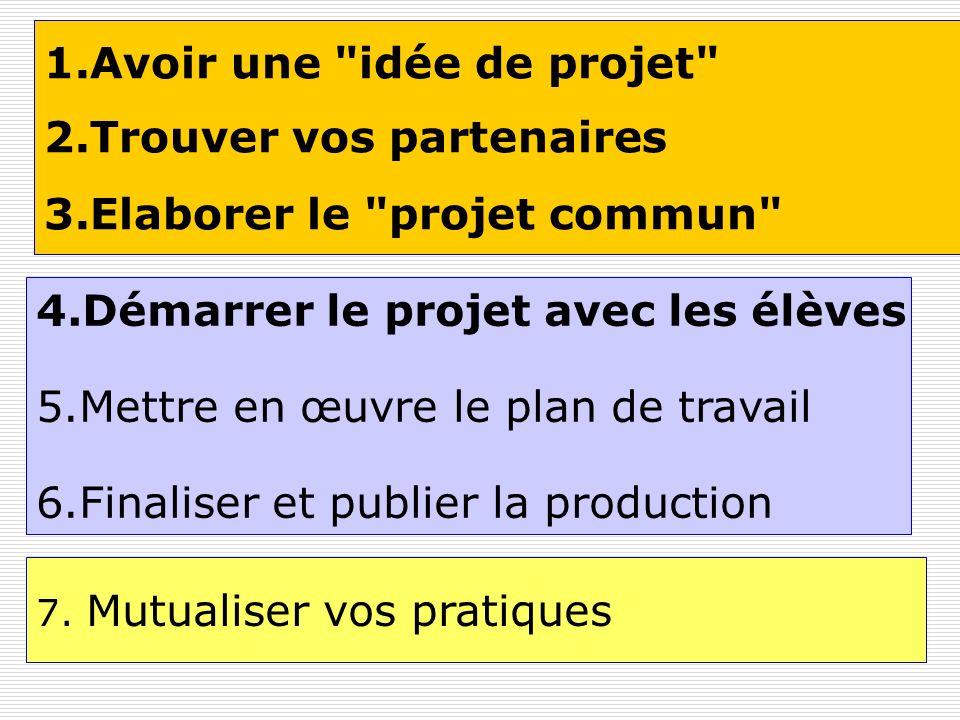 1.Avoir une idée de projet 2.Trouver vos partenaires 3.Elaborer le projet commun 4.Démarrer le projet avec les élèves 5.Mettre en œuvre le plan de travail 6.Finaliser et publier la production 7.