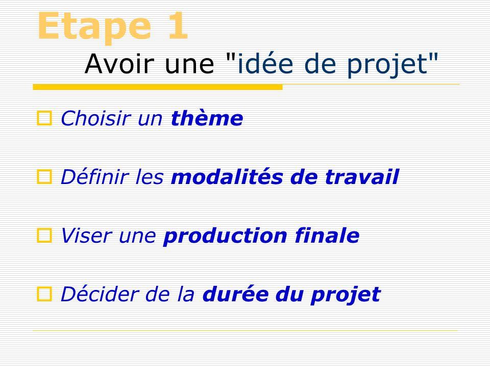 Etape 1 Avoir une idée de projet Choisir un thème Définir les modalités de travail Viser une production finale Décider de la durée du projet