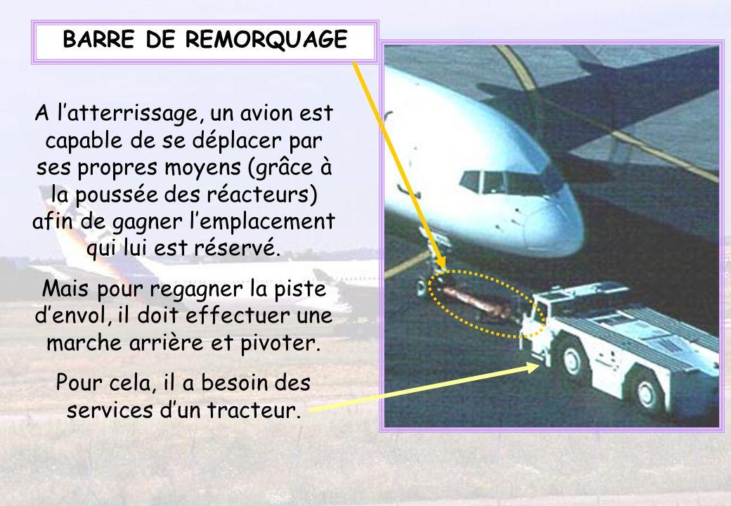 A latterrissage, un avion est capable de se déplacer par ses propres moyens (grâce à la poussée des réacteurs) afin de gagner lemplacement qui lui est