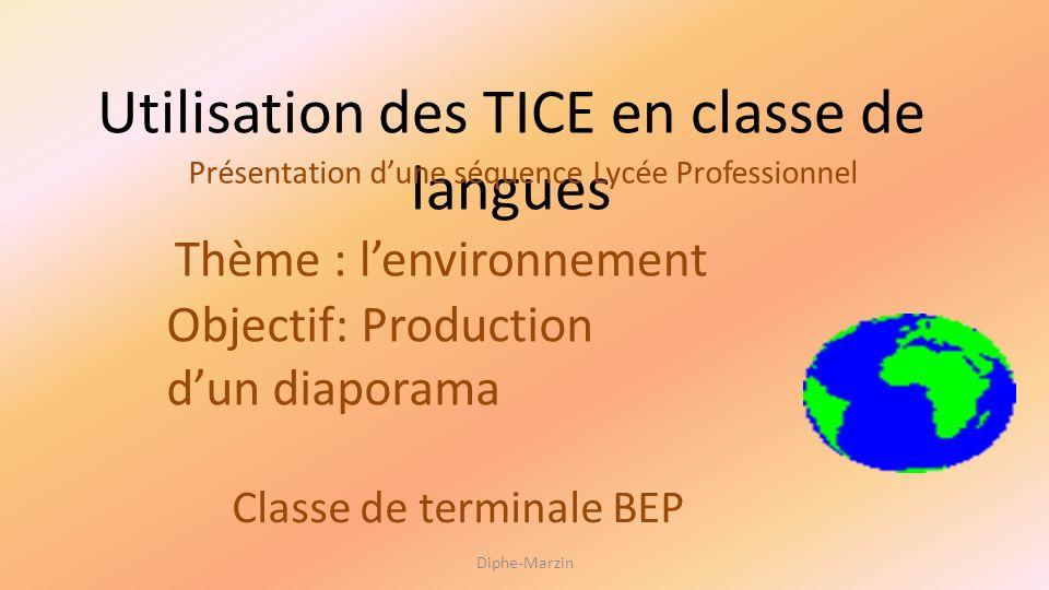 Utilisation des TICE en classe de langues Présentation dune séquence Lycée Professionnel Thème : lenvironnement Objectif: Production dun diaporama Cla