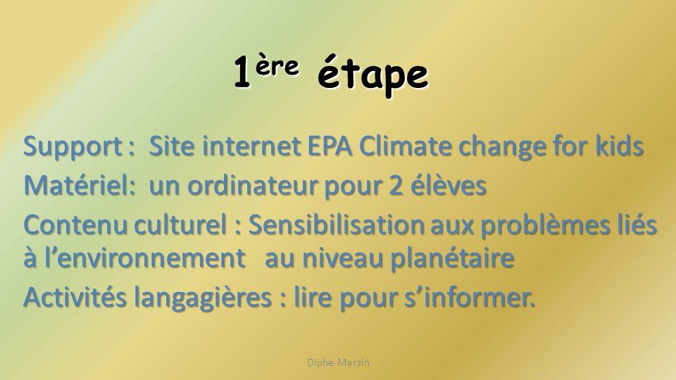 1 ère étape Support : Site internet EPA Climate change for kids Matériel: un ordinateur pour 2 élèves Contenu culturel : Sensibilisation aux problèmes