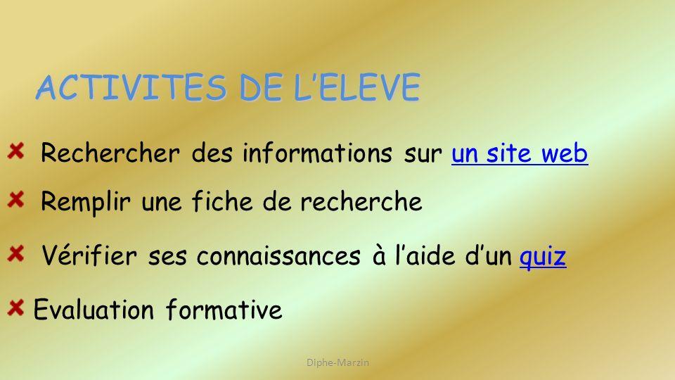 Rechercher des informations sur un site web Remplir une fiche de recherche Vérifier ses connaissances à laide dun quiz Evaluation formative ACTIVITES