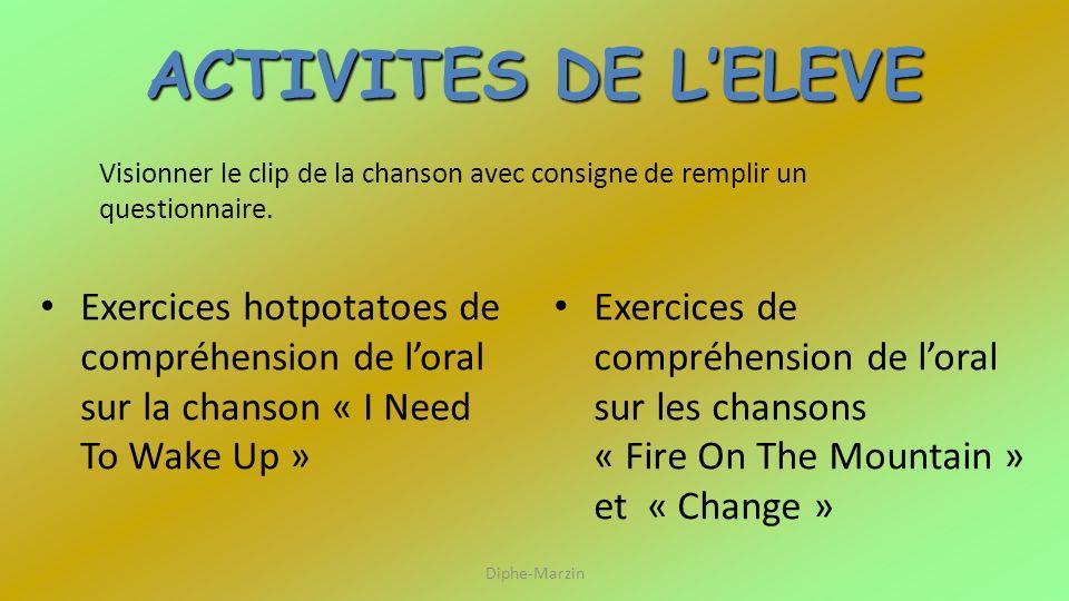ACTIVITES DE LELEVE Exercices hotpotatoes de compréhension de loral sur la chanson « I Need To Wake Up » Exercices de compréhension de loral sur les c
