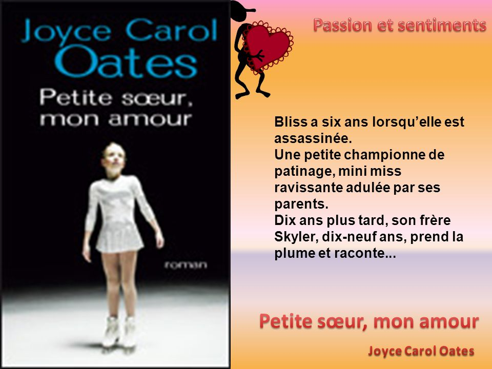 Bliss a six ans lorsquelle est assassinée. Une petite championne de patinage, mini miss ravissante adulée par ses parents. Dix ans plus tard, son frèr