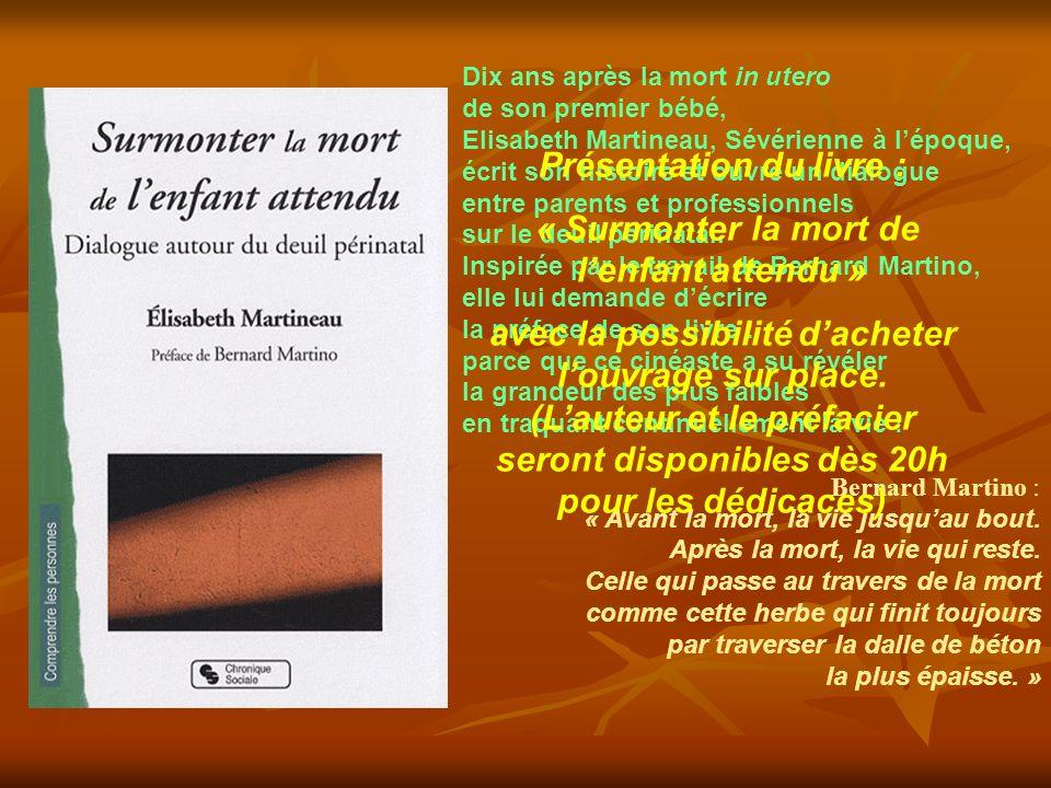 Dix ans après la mort in utero de son premier bébé, Elisabeth Martineau, Sévérienne à lépoque, écrit son histoire et ouvre un dialogue entre parents et professionnels sur le deuil périnatal.