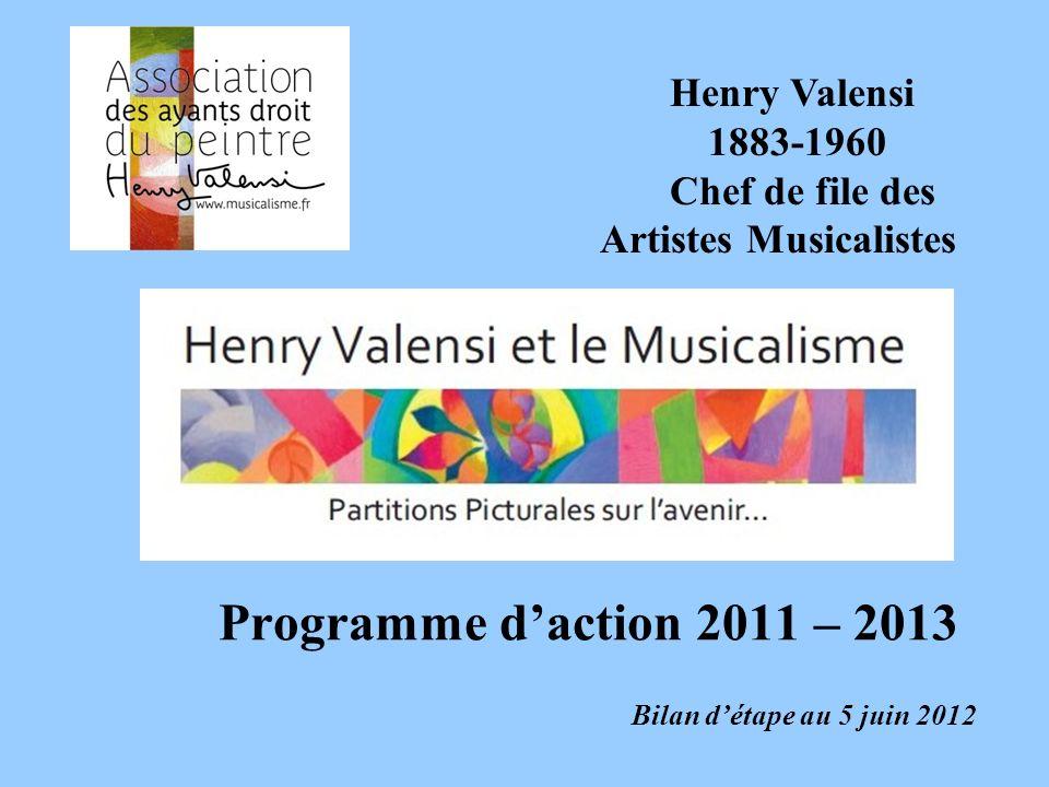 Programme daction 2011 – 2013 Bilan détape au 5 juin 2012 Henry Valensi 1883-1960 Chef de file des Artistes Musicalistes