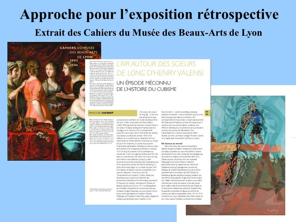 Approche pour lexposition rétrospective Extrait des Cahiers du Musée des Beaux-Arts de Lyon
