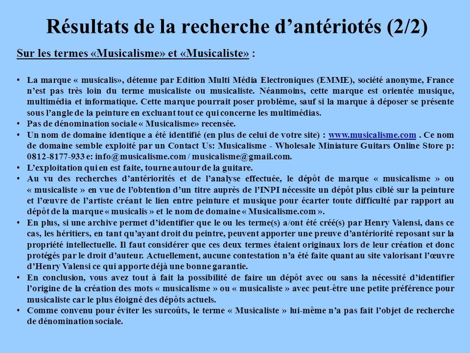 Résultats de la recherche dantériotés (2/2) Sur les termes «Musicalisme» et «Musicaliste» : La marque « musicalis», détenue par Edition Multi Média Electroniques (EMME), société anonyme, France nest pas très loin du terme musicaliste ou musicaliste.