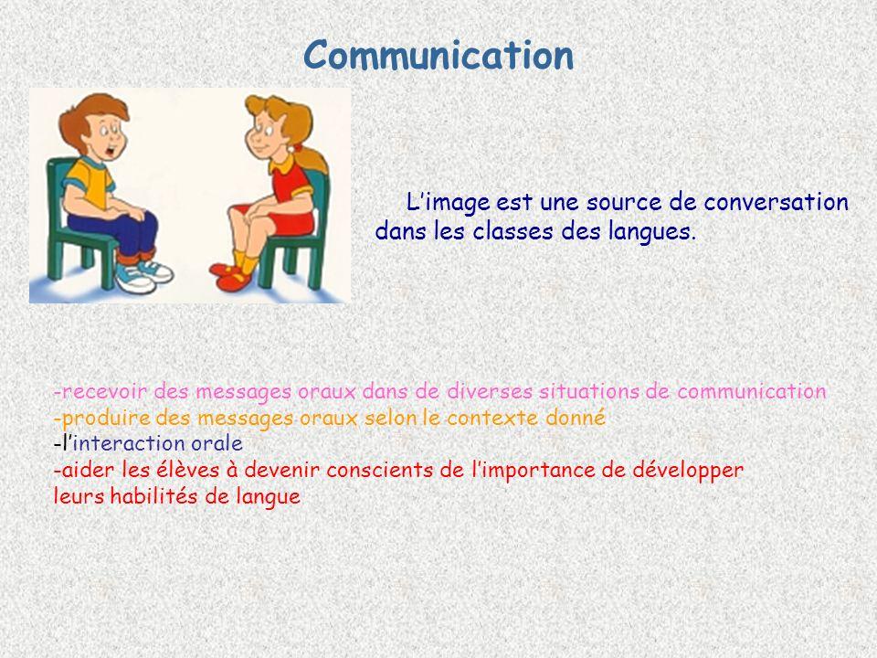 Communication Limage est une source de conversation dans les classes des langues.