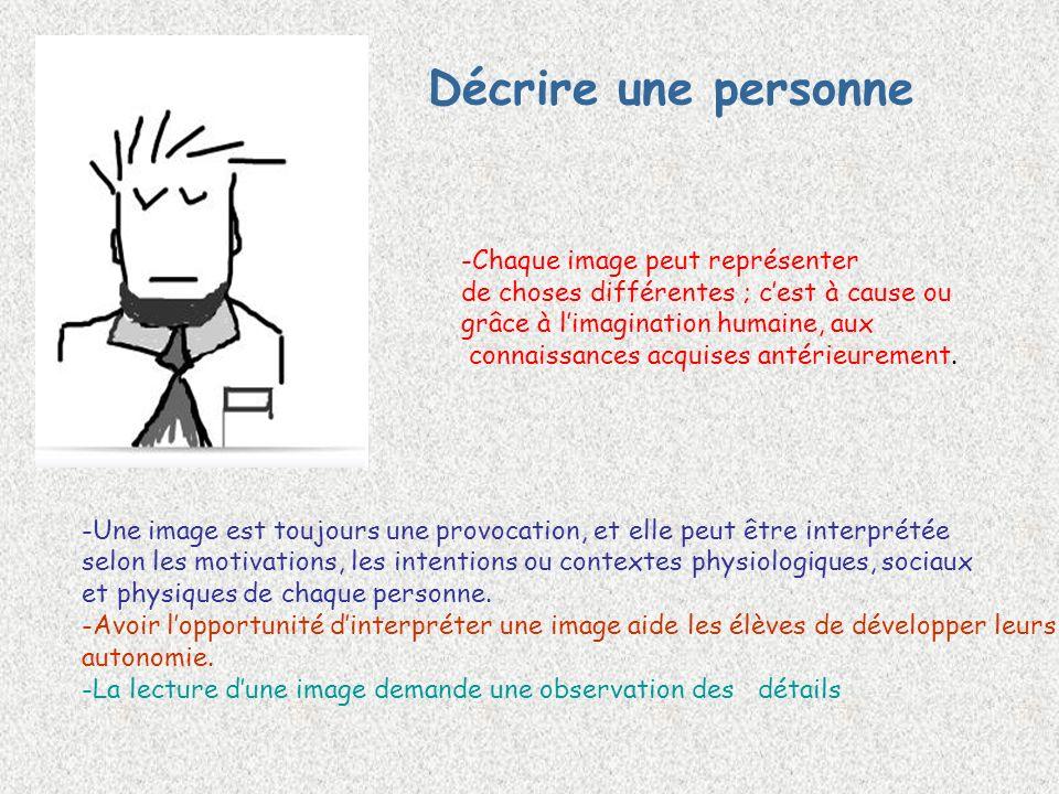 Décrire une personne -Une image est toujours une provocation, et elle peut être interprétée selon les motivations, les intentions ou contextes physiologiques, sociaux et physiques de chaque personne.