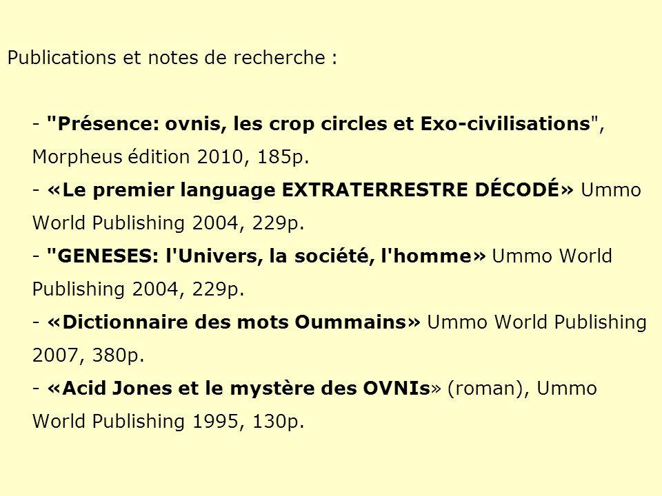 Publications et notes de recherche : -