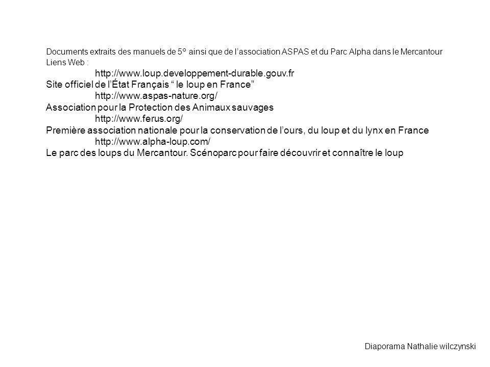 Documents extraits des manuels de 5° ainsi que de lassociation ASPAS et du Parc Alpha dans le Mercantour Liens Web : http://www.loup.developpement-dur