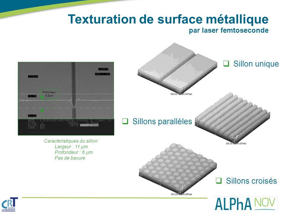 Texturation de surface métallique par laser femtoseconde Caracteristiques du sillon : Largeur : 11 µm Profondeur : 6 µm Pas de bavure Sillon unique Pr