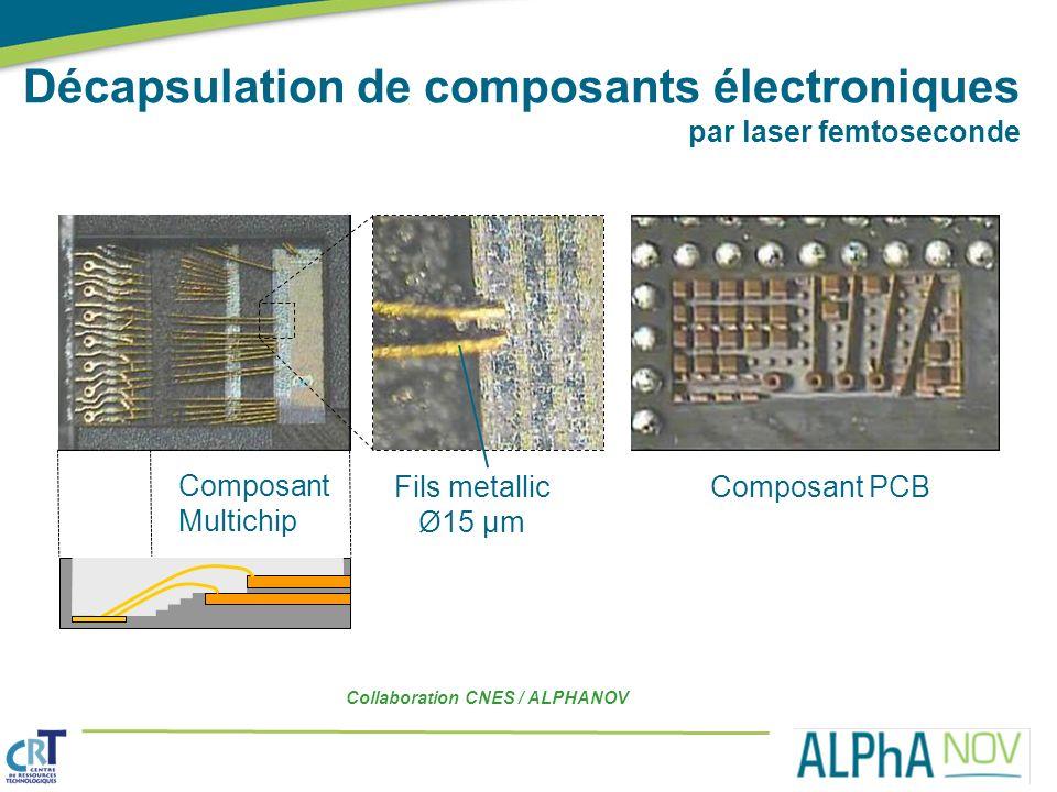 Collaboration CNES / ALPHANOV Décapsulation de composants électroniques par laser femtoseconde Composant PCB Composant Multichip Fils metallic Ø15 µm