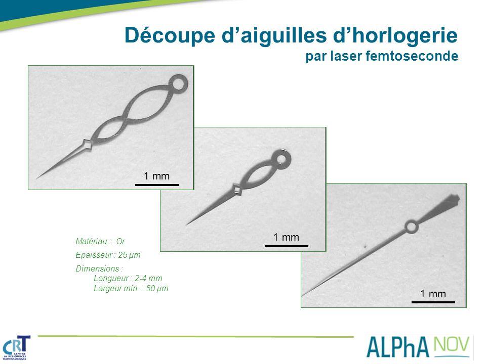 Matériau : Or Epaisseur : 25 µm Dimensions : Longueur : 2-4 mm Largeur min. : 50 µm Découpe daiguilles dhorlogerie par laser femtoseconde 1 mm