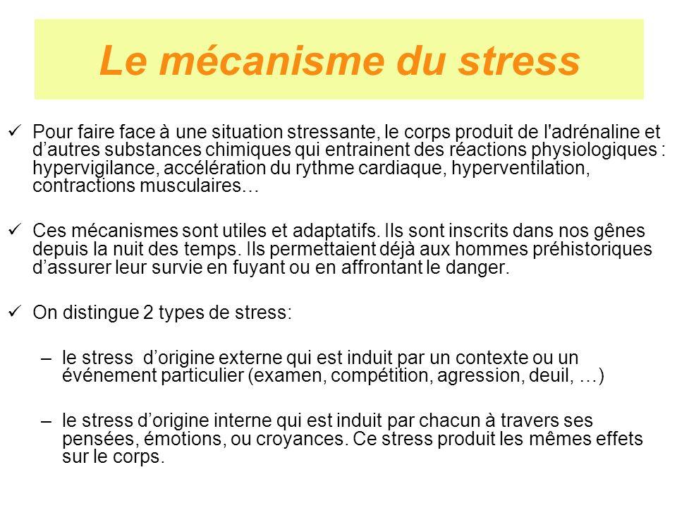 Le mécanisme du stress Pour faire face à une situation stressante, le corps produit de l'adrénaline et dautres substances chimiques qui entrainent des