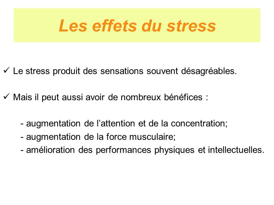 Les effets du stress Le stress produit des sensations souvent désagréables. Mais il peut aussi avoir de nombreux bénéfices : - augmentation de lattent