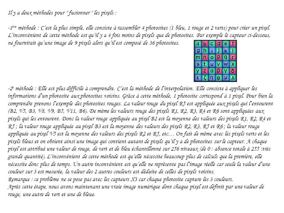 Il y a deux méthodes pour fusionner les pixels : -1 ère méthode : Cest la plus simple, elle consiste à rassembler 4 photosites (1 bleu, 1 rouge et 2 verts) pour créer un pixel.