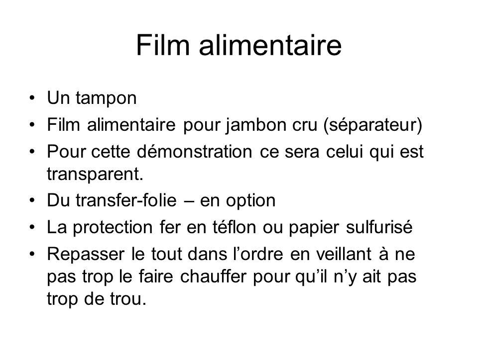 Film alimentaire Un tampon Film alimentaire pour jambon cru (séparateur) Pour cette démonstration ce sera celui qui est transparent. Du transfer-folie