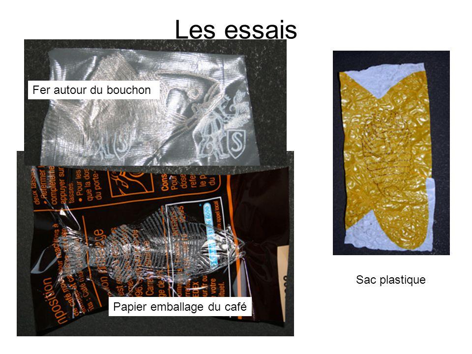 Les essais Fer autour du bouchon Sac plastique Papier emballage du café