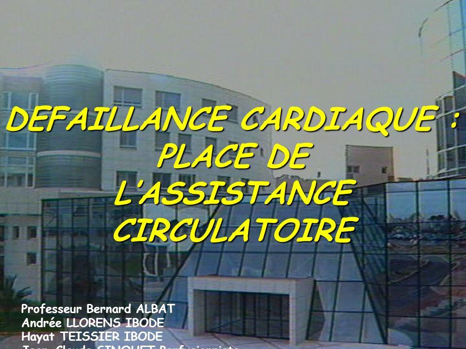 DEFAILLANCE CARDIAQUE : PLACE DE LASSISTANCE CIRCULATOIRE Professeur Bernard ALBAT Andrée LLORENS IBODE Hayat TEISSIER IBODE Jean-Claude SINQUET Perfu