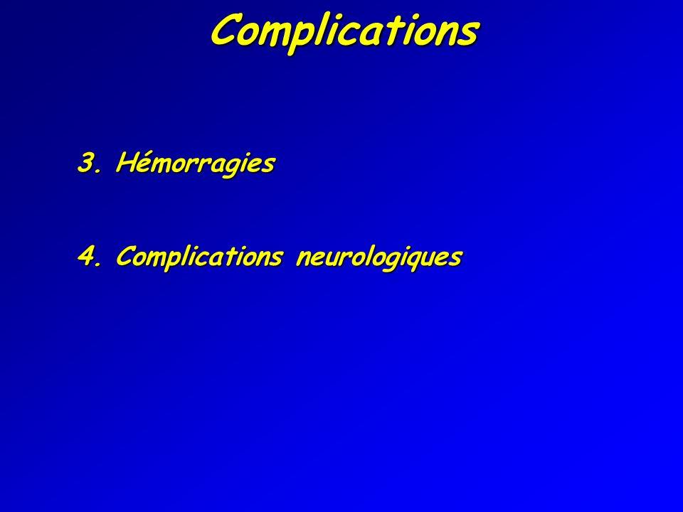 3. Hémorragies Complications 4. Complications neurologiques