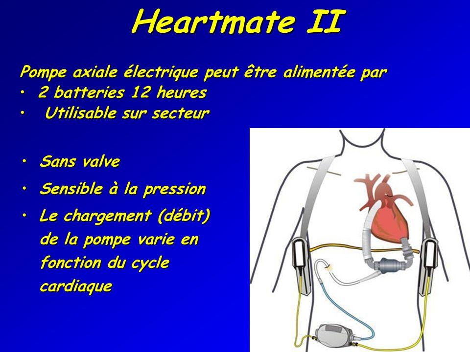 Pompe axiale électrique peut être alimentée par 2 batteries 12 heures2 batteries 12 heures Utilisable sur secteur Utilisable sur secteur Heartmate II