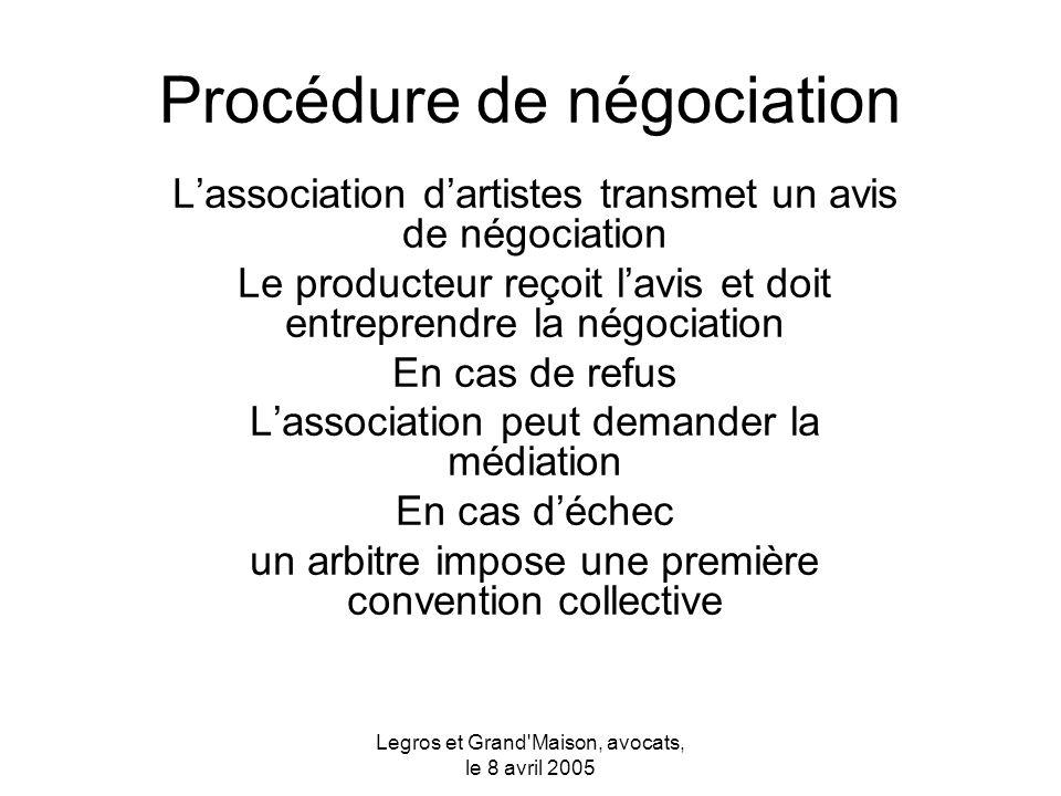 Legros et Grand Maison, avocats, le 8 avril 2005 Convention collective fixe des conditions minimales pour l engagement des artistes Le producteur peut donner de meilleures conditions