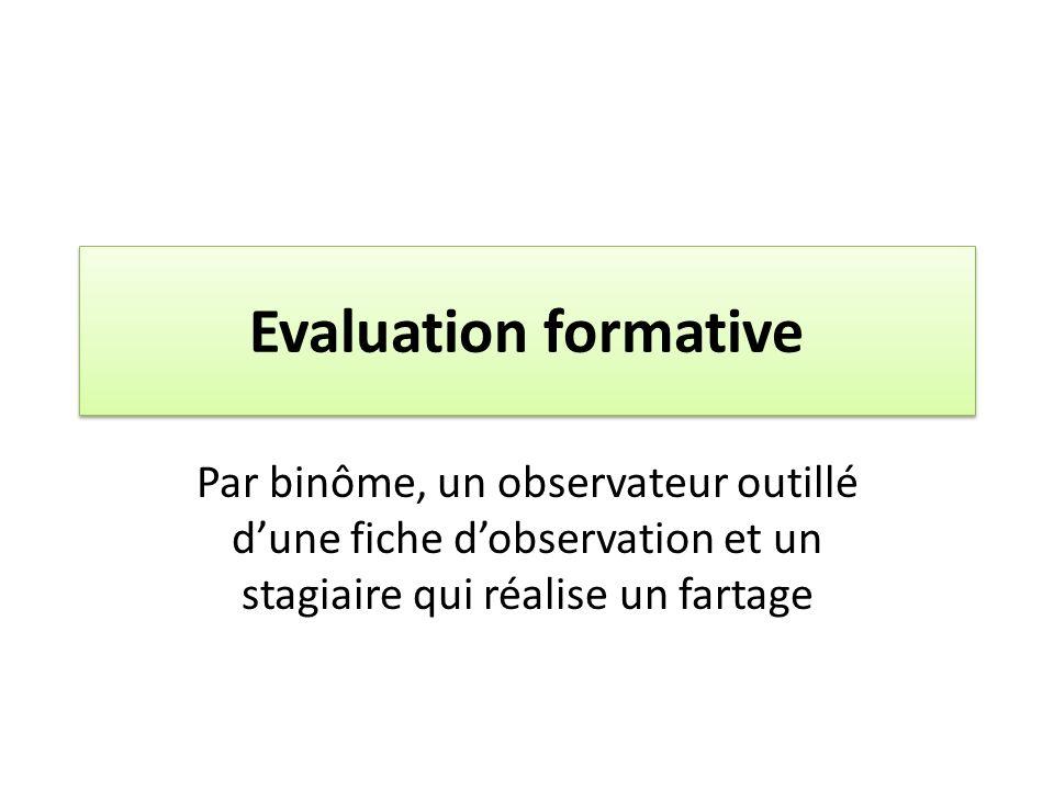 Evaluation formative Par binôme, un observateur outillé dune fiche dobservation et un stagiaire qui réalise un fartage