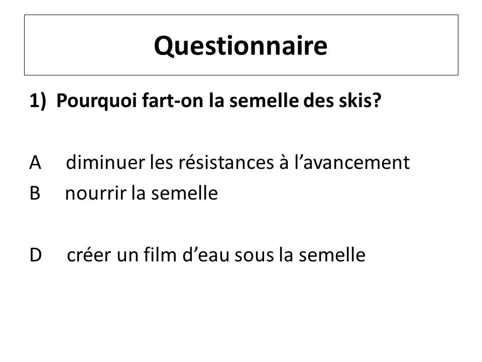 Questionnaire 1)Pourquoi fart-on la semelle des skis? A diminuer les résistances à lavancement B nourrir la semelle D créer un film deau sous la semel