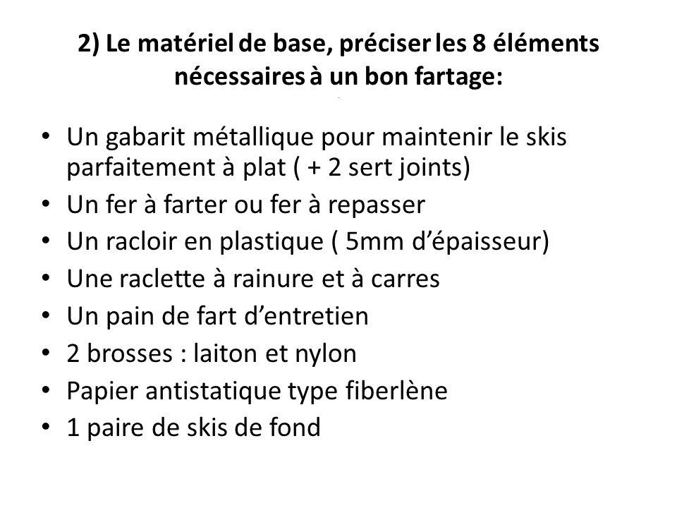 2) Le matériel de base, préciser les 8 éléments nécessaires à un bon fartage:. Un gabarit métallique pour maintenir le skis parfaitement à plat ( + 2