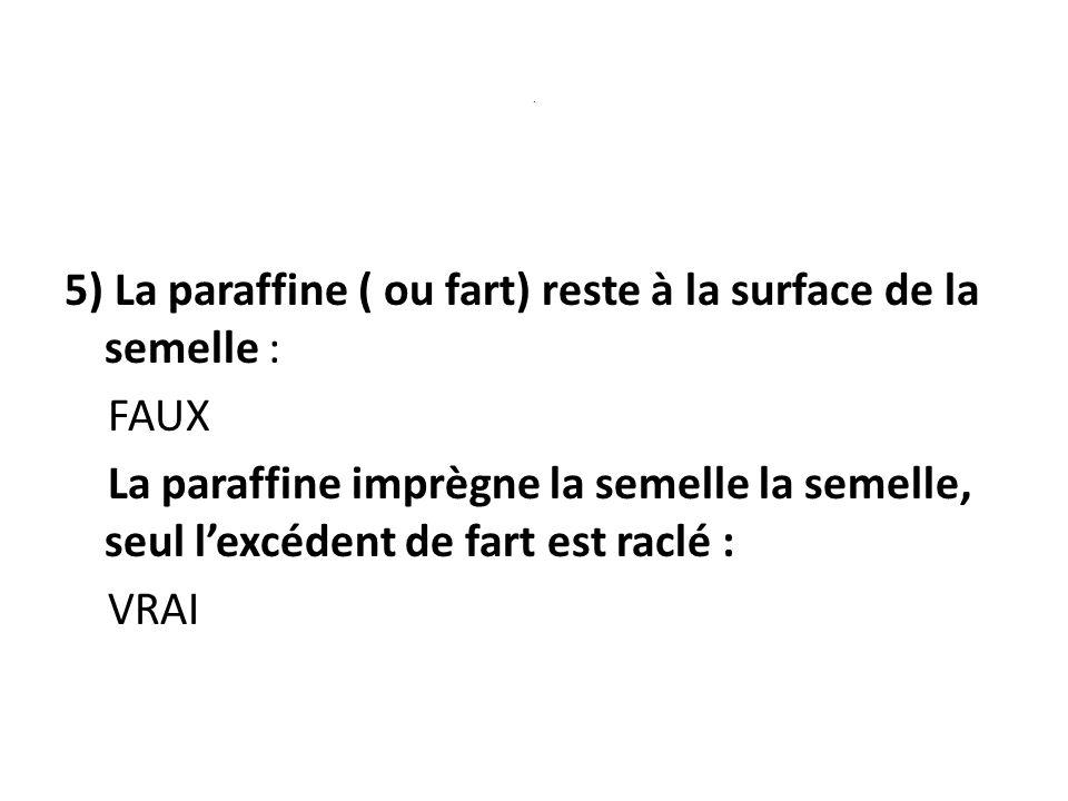 . 5) La paraffine ( ou fart) reste à la surface de la semelle : FAUX La paraffine imprègne la semelle la semelle, seul lexcédent de fart est raclé : VRAI