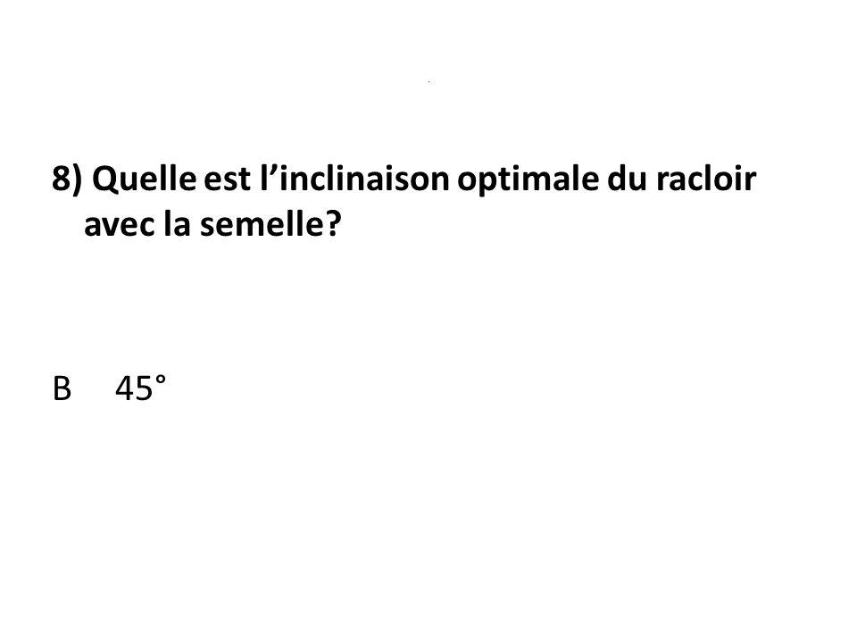 . 8) Quelle est linclinaison optimale du racloir avec la semelle? B 45°
