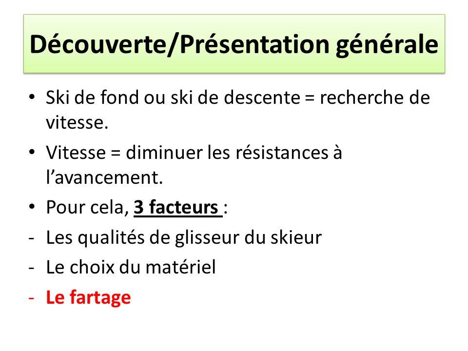 Découverte/Présentation générale Ski de fond ou ski de descente = recherche de vitesse. Vitesse = diminuer les résistances à lavancement. Pour cela, 3