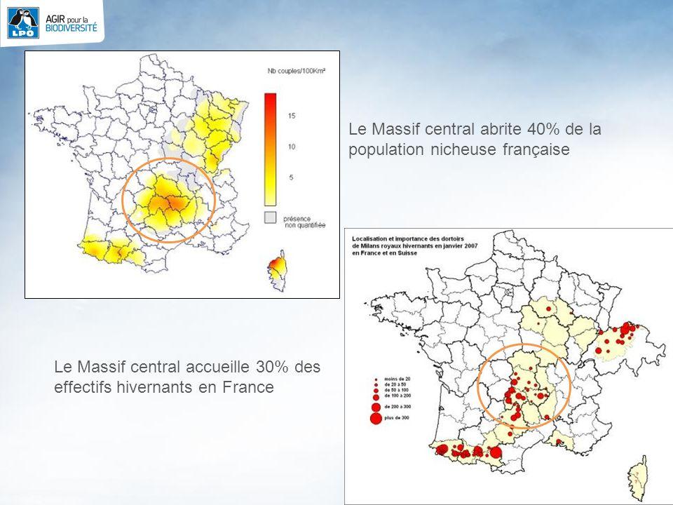5 Le Massif central abrite 40% de la population nicheuse française Le Massif central accueille 30% des effectifs hivernants en France