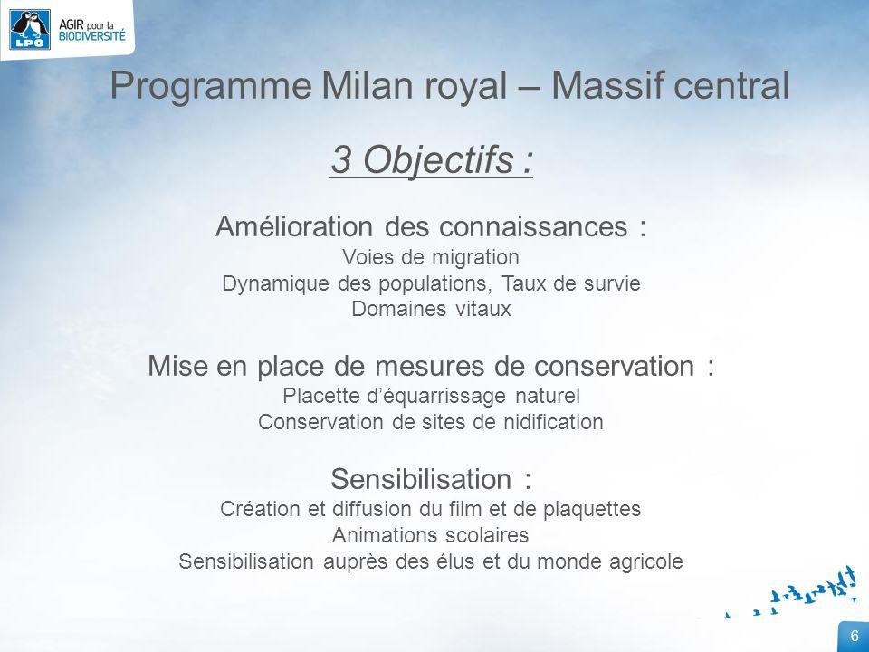 6 Programme Milan royal – Massif central 3 Objectifs : Amélioration des connaissances : Voies de migration Dynamique des populations, Taux de survie D