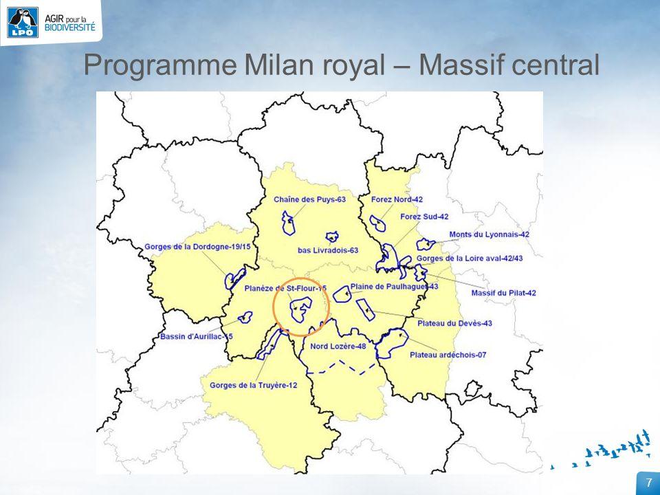 8 Suivi des couples: Nids connus Le Milan royal sur la Planèze de Saint-Flour