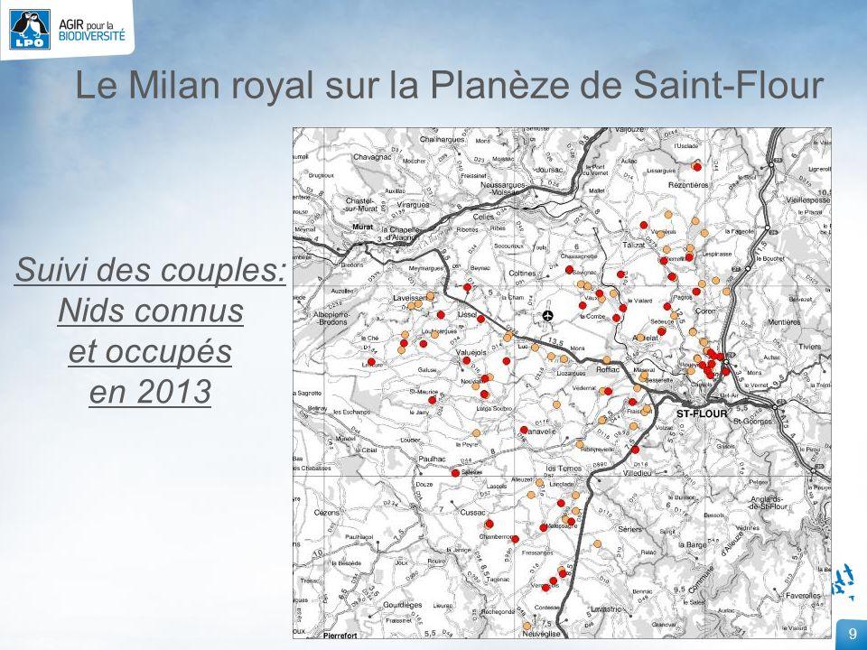 30 Le Milan royal sur la Planèze de Saint-Flour Mise en place de placette équarrissage naturel Chastel-sur-Murat Alimentée pendant la mauvaise saison Premier dépôt en février 2011 Observations de dortoirs