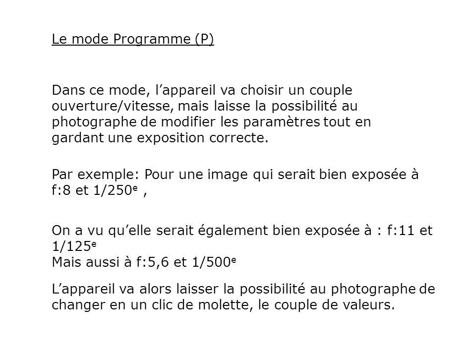 Le mode Programme (P) Dans ce mode, lappareil va choisir un couple ouverture/vitesse, mais laisse la possibilité au photographe de modifier les paramè