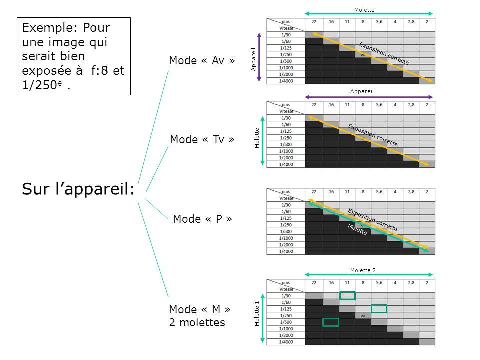 Sur lappareil: Mode « Tv » Mode « P » Molette Appareil Molette Exposition correcte Molette Mode « M » 2 molettes Mode « Av » Molette 1 Molette 2 Exemp