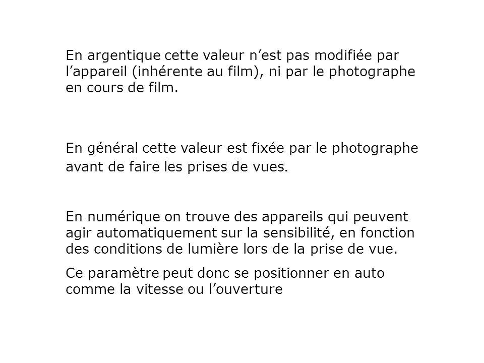 En argentique cette valeur nest pas modifiée par lappareil (inhérente au film), ni par le photographe en cours de film. En numérique on trouve des app