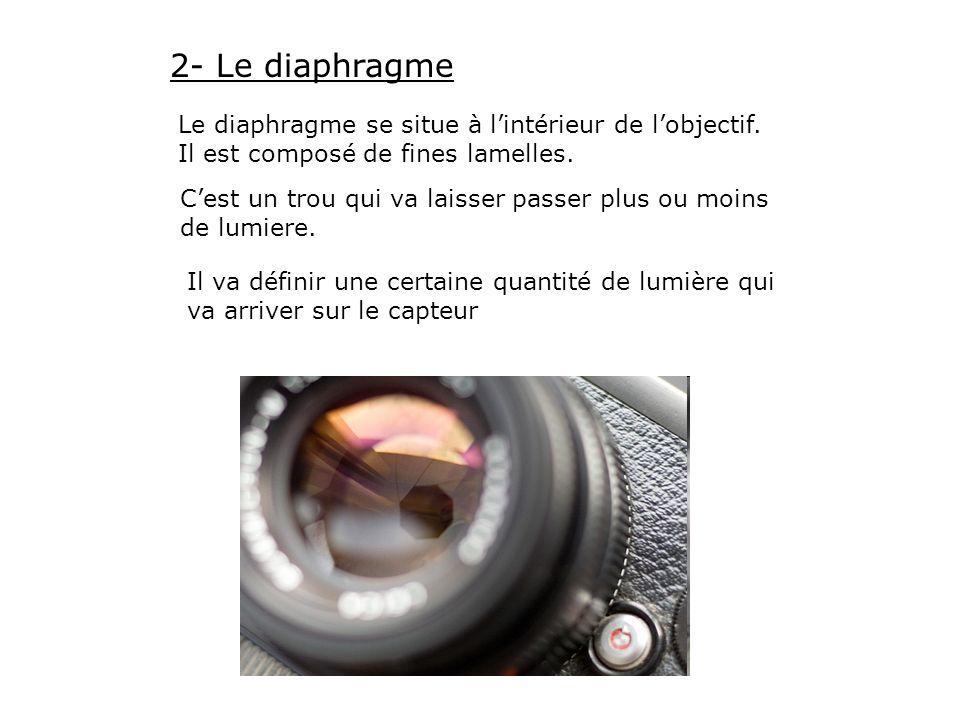 2- Le diaphragme Le diaphragme se situe à lintérieur de lobjectif. Il est composé de fines lamelles. Cest un trou qui va laisser passer plus ou moins