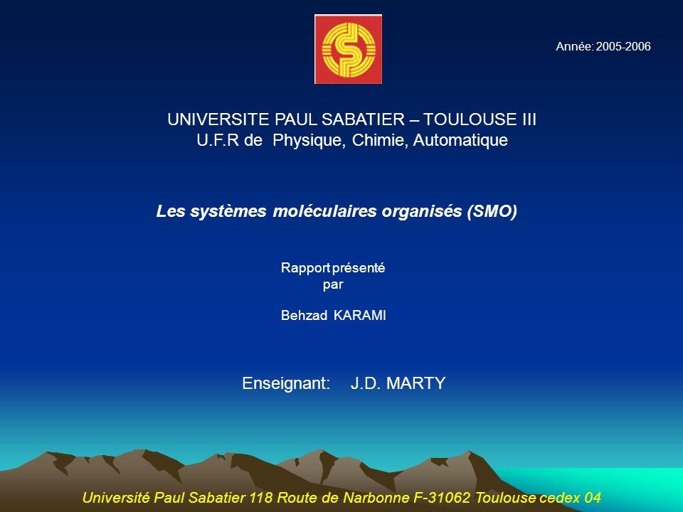 Rapport présenté par Behzad KARAMI Enseignant: J.D. MARTY Université Paul Sabatier 118 Route de Narbonne F-31062 Toulouse cedex 04 UNIVERSITE PAUL SAB