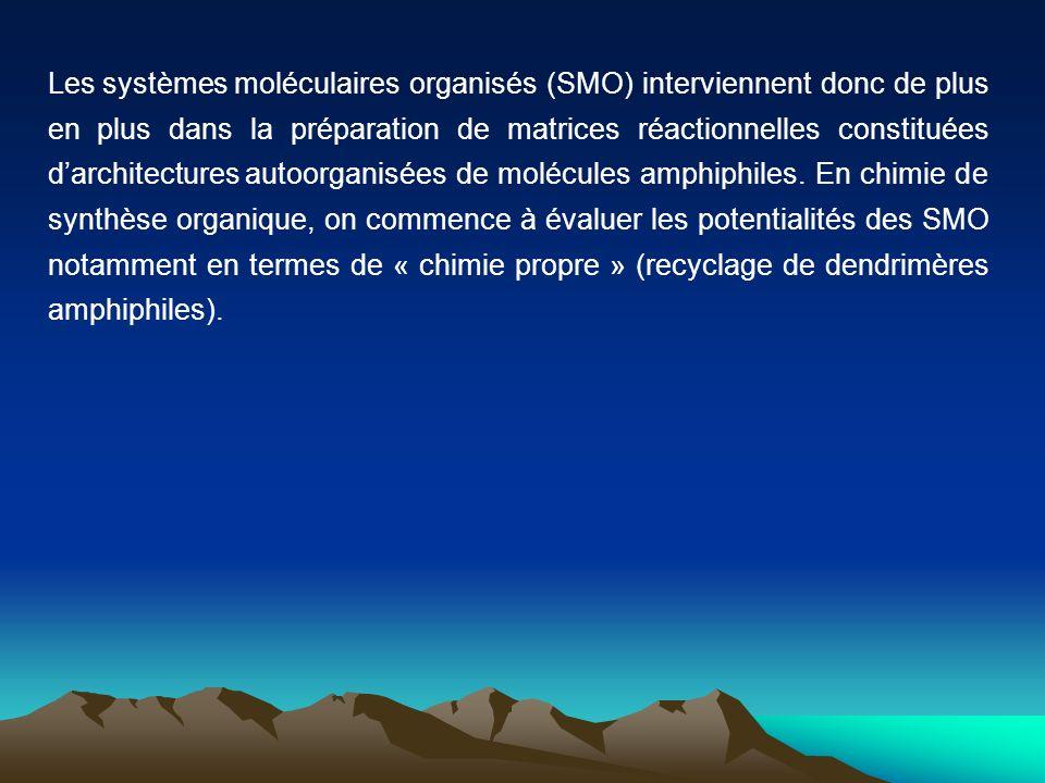 Les systèmes moléculaires organisés (SMO) interviennent donc de plus en plus dans la préparation de matrices réactionnelles constituées darchitectures