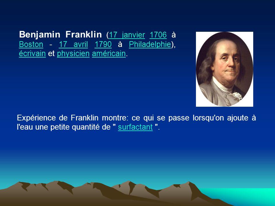 Benjamin Franklin (17 janvier 1706 à Boston - 17 avril 1790 à Philadelphie), écrivain et physicien américain. Expérience de Franklin montre: ce qui se