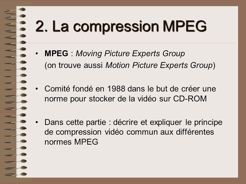 2. La compression MPEG MPEG : Moving Picture Experts GroupMPEG : Moving Picture Experts Group (on trouve aussi Motion Picture Experts Group) Comité fo