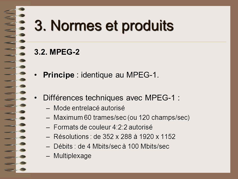 3. Normes et produits 3.2. MPEG-2 Principe : identique au MPEG-1.Principe : identique au MPEG-1. Différences techniques avec MPEG-1 :Différences techn